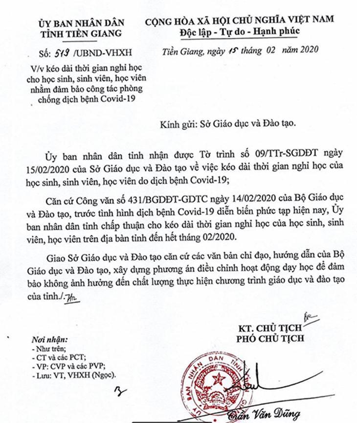 Học sinh Tiền Giang nghỉ học đến hết tháng 2-2020