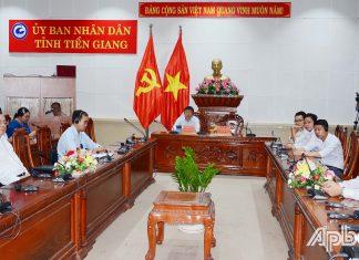 Quang cảnh hội nghị tại điểm cầu Tiền Giang.