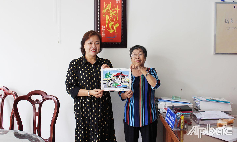 Bức tranh bà Nguyễn Ngọc Ánh tặng Bảo tàng Tiền Giang.