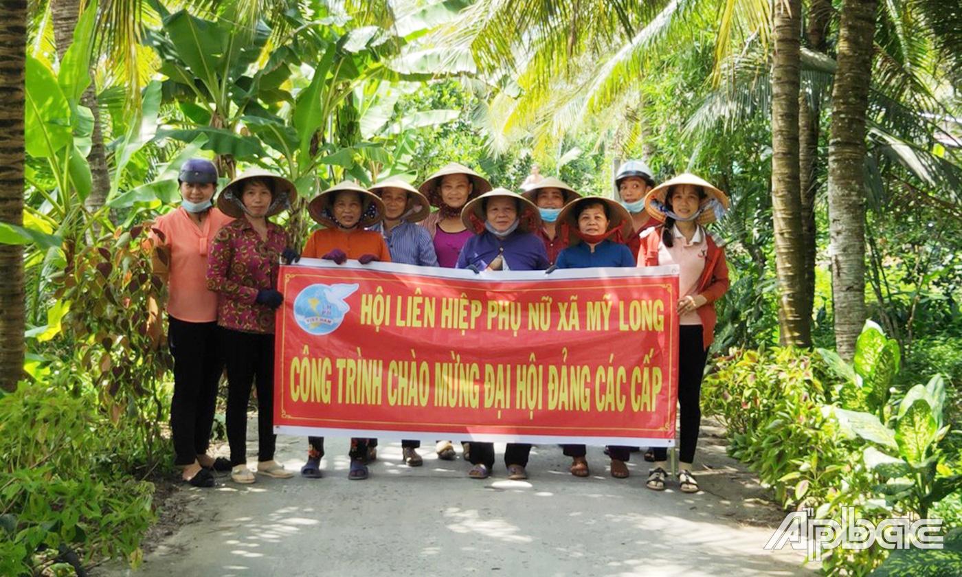 Hội LHPN xã Mỹ Long với công trình chào mừng Đại hội đảng bộ các cấp.